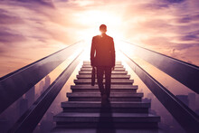 Rear View Of Male Manager Walking Upward On Stairs