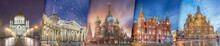 Creative Collage View Of Russia Top Sightseeing. The Cathedral Of Christ The Saviour, Kazan Cathedral, Saint Basil Cathedral, The State History Museum And The Church Of Savior On Spilled Blood.