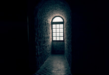 Sunlight Shines Through A Window In An Old Castle