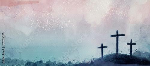 Slika na platnu Crucifixion. Watercolor christian banner..