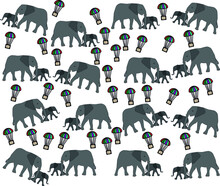 Elephant And Little Elephant And Parachute Pattern
