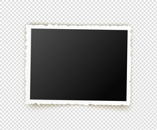 Old Photo. Retro Image Frames. Empty Snapshot Frame Template. Vector Illustration Isolated On Transparent Background.