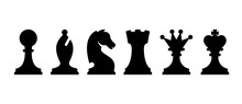 Black Chess Pieces Icon Set. Isolated Vector Silhouettes.