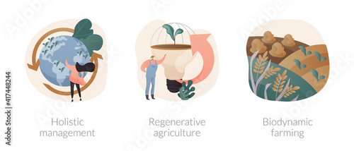 Stampa su Tela Conservation and rehabilitation farming system abstract concept vector illustration set