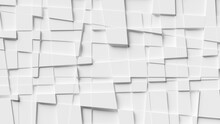 White, Abstract, Geometric Background Made Of Irregular Squares. 3d Rendering