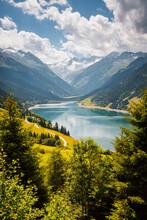 Great Panorama Of The Durlassboden Reservoir. Location Municipality Of Gerlos, Tyrol, Europe.