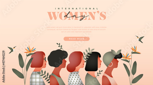 Women's Day diverse woman tropical web template © cienpiesnf
