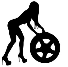Girl Pushing Tire , Auto Car Repairing, Black Vector Silhouette