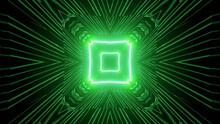 Neon Green Kaleidoscope Square Shape Pattern Background
