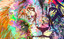 Lion Head With Creative Abstract Elements On Dark Background