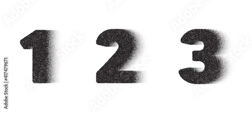 1th, 2nd and 3rd Dotwork number. 123 noise stipple dots digits. Sand grain effect. Black dots grunge banner. Abstract noise dotwork number. Stipple circles digits. 1, 2 and 3 dotted numeral. Vector