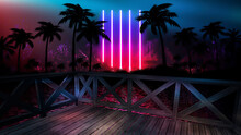 Night Seascape With Sunset And Wooden Pier By The Sea. Evening Shore With Palm Trees, Beach Party. Neon Sunset, Sunlight, Neon Lights, Neon Reflection In Water. 3D Illustration.
