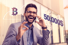 Bitcoin Going Over 50.000 $ Mark,. Happy Businessman Finding Out Good News Over The Phone. All Time High