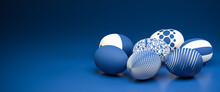 Easter Eggs With Different Textures In Classic Blue On A Seamless Blue Background. Web Banner Format