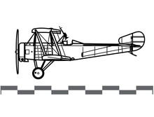 Sopwith Comic. Sopwith Strutter. World War 1 Anti Zeppelin Aircraft. Side View. Image For Illustration And Infographics.