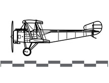 Sopwith Type 9700. Sopwith Strutter. World War 1 Attack Aircraft. Side View. Image For Illustration And Infographics.