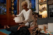 Black Woman Does Overhead Sound Bath, Peaceful Vibrations