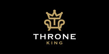 Royal Chair With Initial T And Crown For Throne Logo Design