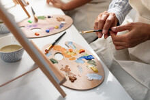 DIverse Mother And Son Painting At Home, Kid Activities
