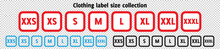 Red Blue Cloth Labels With Size For Apparel, Brand Tags S, L, M, XL Symbols, Textile Badges With Seams And Fabric Texture. Clothing Isolated On Transparent Background Realistic Vector Illustration