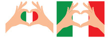 Italy  Flag. Two Hands In The Form Of A Heart With Flag Of Italy