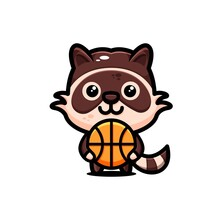 Cute Racoons Character Design Themed Basket Ball
