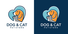 Vector Pet Shop Logo Design Template. Modern Animal Icon Label For Store, Veterinary Clinic, Hospital, Shelter, Business Services. Flat Illustration Background With Dog And Cat.