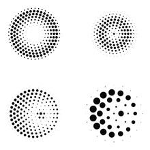 Radial Halftone Circle Vectors Set