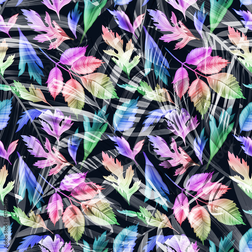 Beautiful rainbow colorful tropical leaves background. seamless pattern design floral style and bright colotrs. Tropical leaves pattern iredescent.
