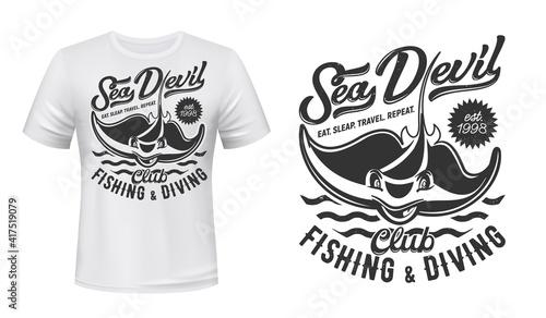 Fotografie, Obraz Ray t-shirt print mockup, fishing and diving club, vector icon