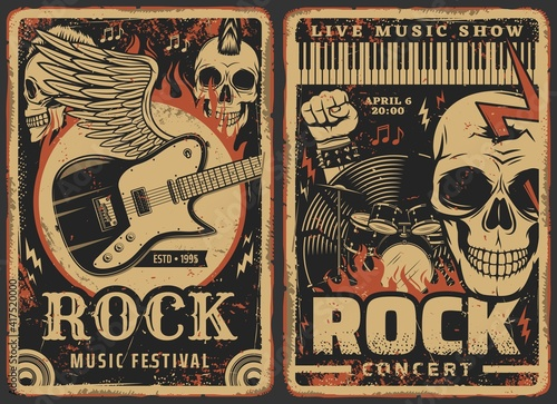Rock music posters, concert or band fest and live music show festival, vector. Hard rock music concert grunge retro posters with skeleton skull, electric guitar on wings, rocker fist and drums in fire - fototapety na wymiar