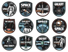 Galaxy, Space, Astronaut And Rocket Vector Icons With Glitch Effect. Cosmos Explore Shuttles Expedition, Satellite In Outer Space, Rover On Red Planet Surface. Colonization Mission Retro Labels Set