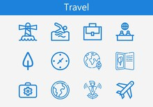 Premium Set Of Travel Line Icons. Simple Travel Icon Pack. Stroke Vector Illustration On A White Background. Modern Outline Style Icons Collection Of Postcard, Cardinal Points, Briefcase