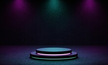 Cyberpunk Product Podium Platform Studio With Blue And Violet Spotlight And Grunge Style Textured Background. Retro Stage And Futuristics Scene Concept. 3D Illustration Rendering Graphic