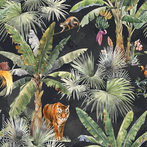 Stampa su Tela Beautiful seamless pattern with watercolor tropical palms and jungle animal tiger