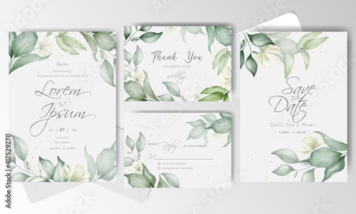 Fényképezés Watercolor and Greenery Wedding Invitation stationery