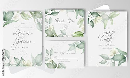 Watercolor and Greenery Wedding Invitation stationery Fototapeta