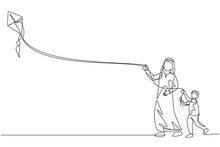 One Continuous Line Drawing Of Young Arabian Father And His Son Playing Kite Together At Public Park. Happy Islamic Muslim Parenting Family Concept. Dynamic Single Line Draw Design Vector Illustration