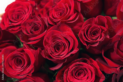 bouquet of beautiful red roses #417538085