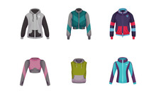 Gym Clothing Or Athletic Apparel With Sportive Zippered Track Jacket And Vest Vector Set