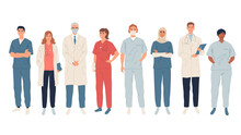 Doctors, Medical Workers, Medics And Nurses. Representatives Of Different Medical Specialties