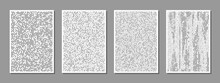 Set Of Abstract Digital Minimalist Compositions Good For Wall Decoration, As Poster Or Banner Design, Vector. The Binary Flow Pattern Of Square Particles.