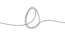 Egg Line Art, Continuous One Line Drawing Of Whole Egg In Shell, Black And White Graphics, Vector Illustration Design Element For Easter Holidays