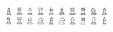 Simple Line Set Of Chess Icons.