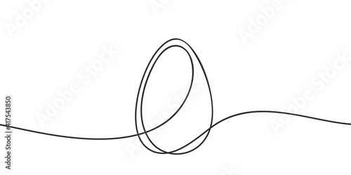 Obraz Egg line art, Continuous one line drawing of whole egg in shell, Black and white graphics, Vector illustration design element for Easter holidays - fototapety do salonu