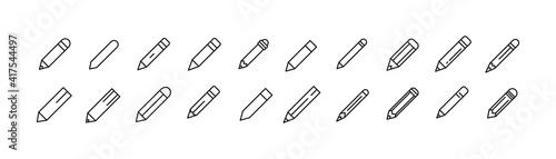 Obraz Set of simple pencil line icons. - fototapety do salonu