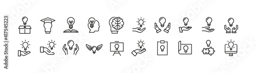 Slika na platnu Vector set of idea thin line icons.