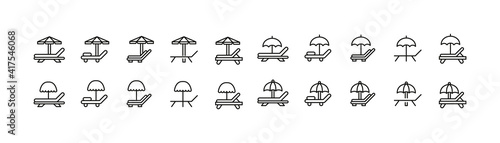 Photo Editable vector pack of sunbed line icons.