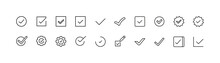 Simple Line Set Of Check Icons.
