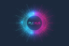 Abstract Plexus Background With Dynamic Particles. Plexus Stream Background With Fractal Elements. Deep Learning Artificial Intelligence. Big Data Algorithm Visualization. Digital Vector Illustration.